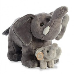 Aurora Elephant Mama and Baby Plush