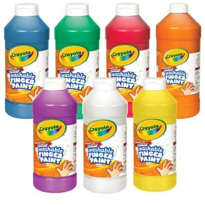 crayola washable finger paint 32 oz plastic jar set of 7 colors