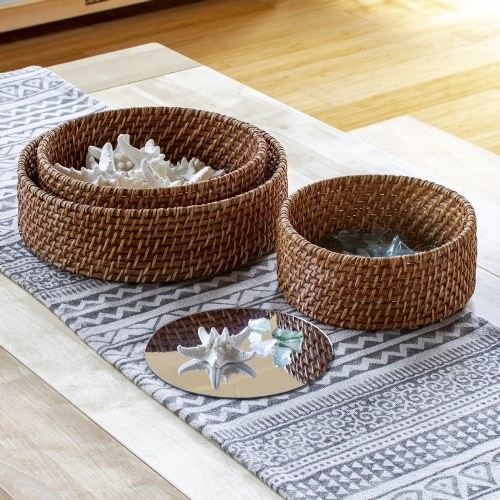 Sense of Place Circle Woven Mirror Trays - Set of 3