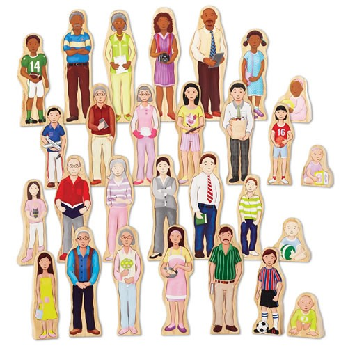 Wooden Wedgie Families (Set of 28)