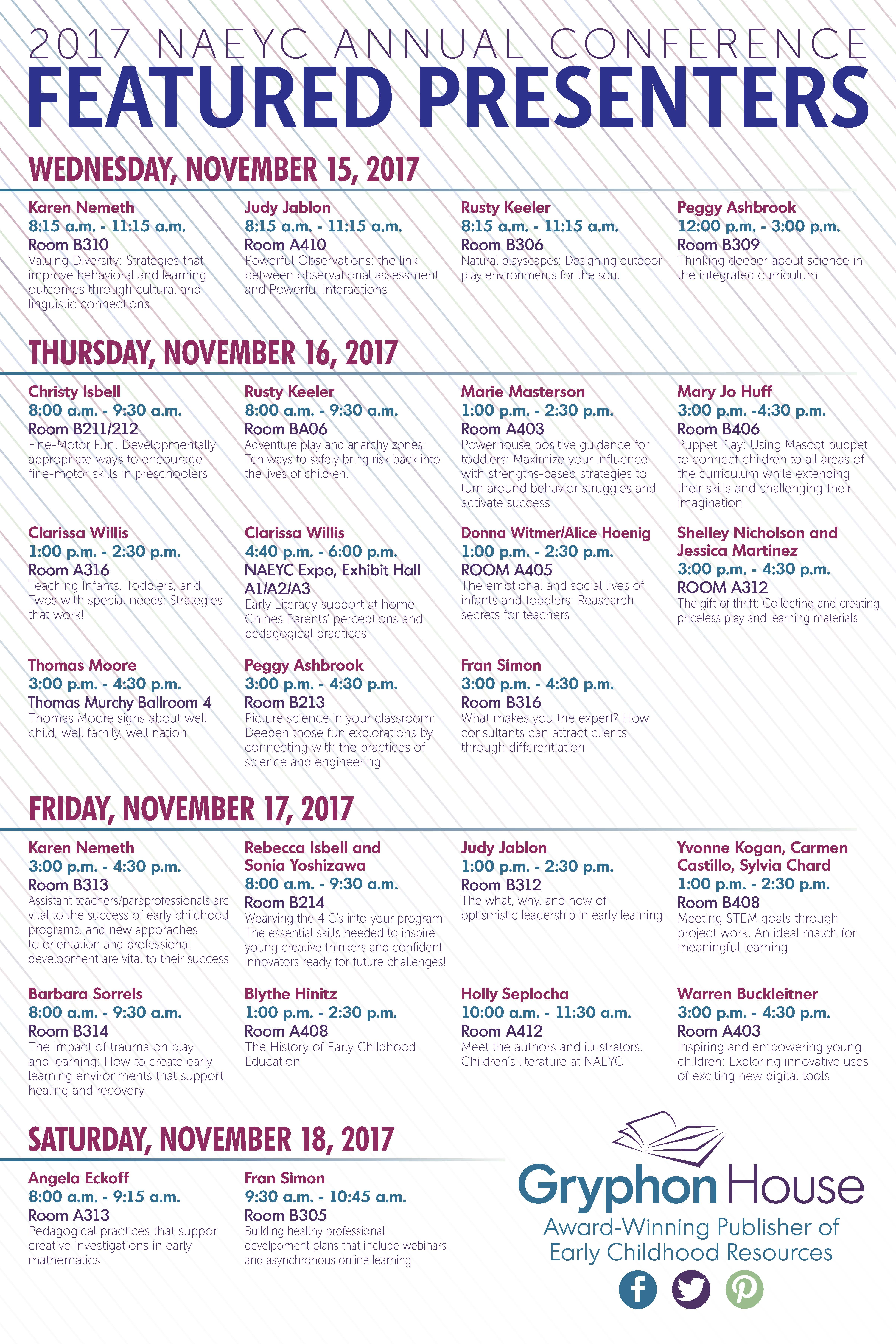NAEYC 2017 Schedule of Events